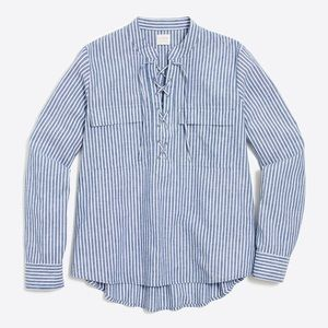 J. Crew Factory Blue White Striped Lace Up Shirt